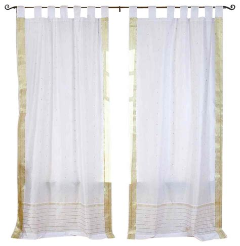 tab top sheer curtains white with gold tab top sheer sari curtain drape panel