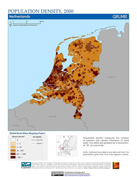 spain netherlands heat map maps 187 population density grid v1 sedac
