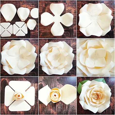 simple paper flower pattern diy giant rose templates paper rose patterns tutorials