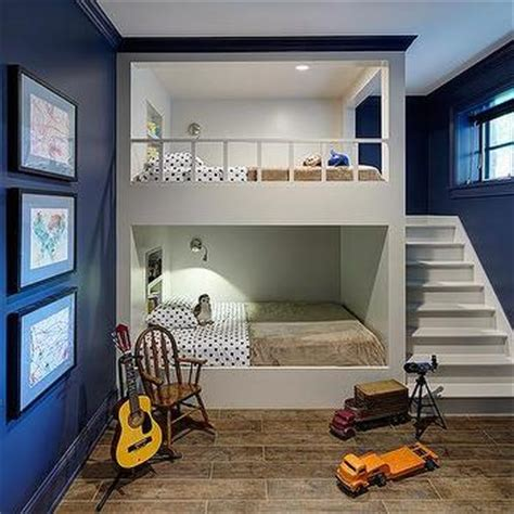 built in bunk beds cottage boy s room hickman design white built in bunk beds with navy bedding cottage boy