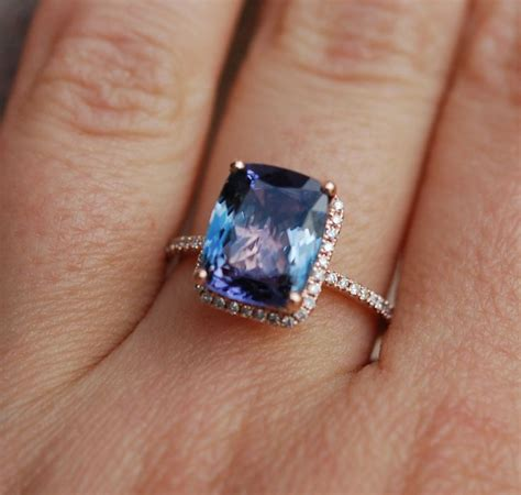 Tanzanite Engagement Rings by Tanzanite Ring Gold Engagement Ring Lavender Mint