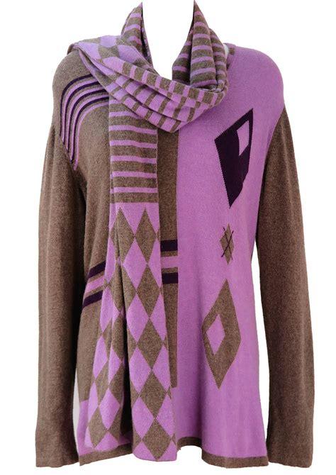 krizia purple warm grey jumper with matching scarf l