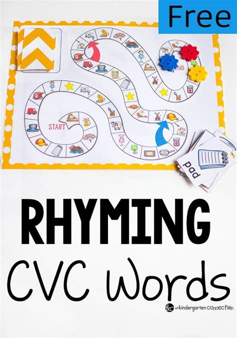 printable rhyming word games rhyming words board games and game on pinterest