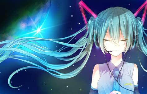 hatsune miku anime girl with headphones wallpaper hatsune miku art microphone headphones anime