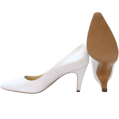 kaiser tosca white leather mid heel pumps bridal