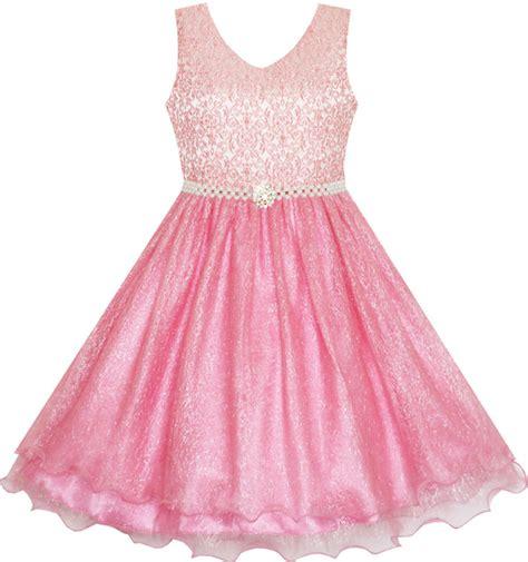 Flow Sequin Dress For Big Size fashion flower dress sparkling pearl belt