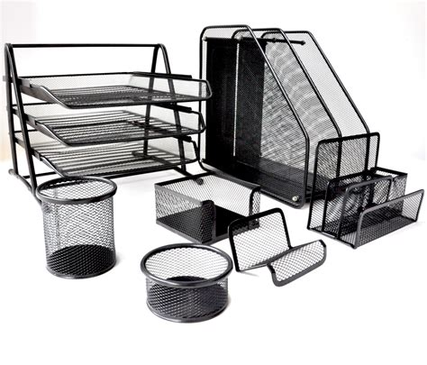 black wire mesh desk accessories metal mesh desk organizer set 7 pieces papecero