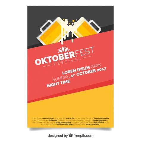 tutorial flat design poster modern oktoberfest poster with flat design vector free