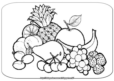gambar mewarnai buah buahan gambar  atas  gambar