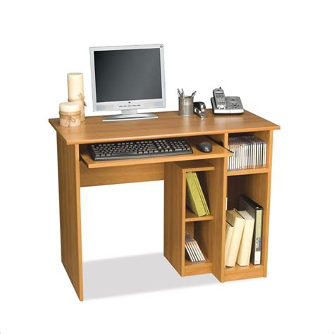 small computer workstation desk bestar basic small wood computer desk in cappuccino cherry