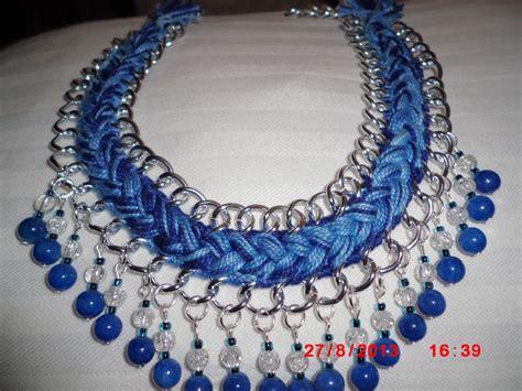 bisuteria con hilo tejido y cristal collar con cadena hilos y perlas de cristal accesorios