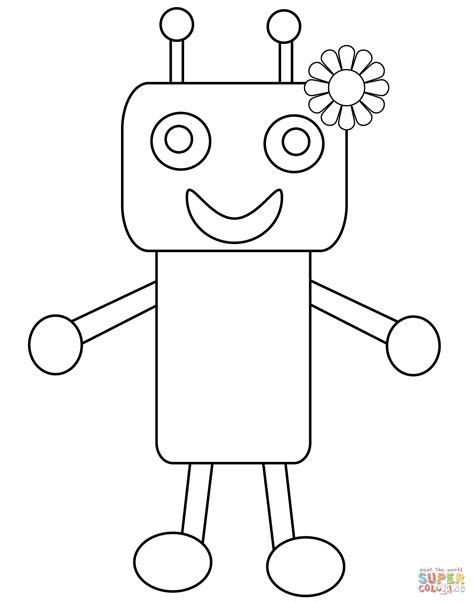 baby robot coloring page cute robot with flower coloring page free printable