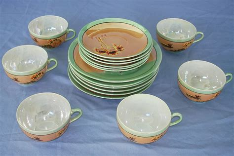 Cup With Plate painted made in japan lotus flower luncheon plates