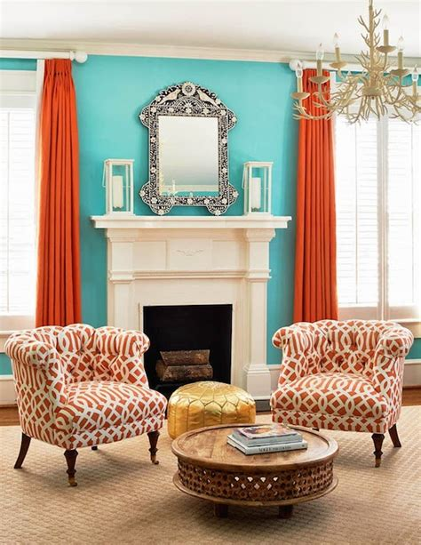 orange and turquoise living room ideas living room orange curtains contemporary living room holly