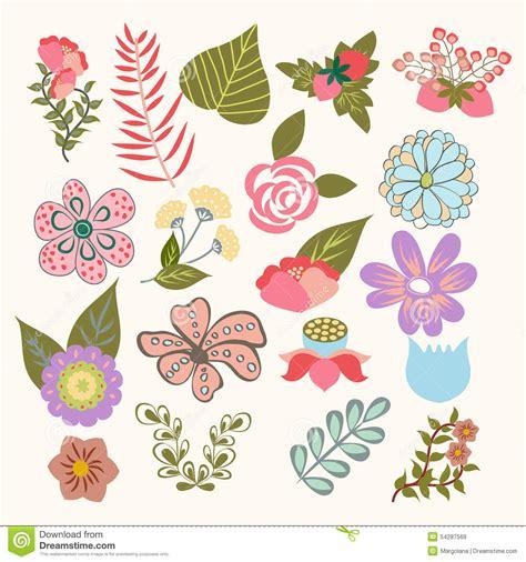 simboli dei fiori insieme floreale dell icona di simboli dei fiori adorabili