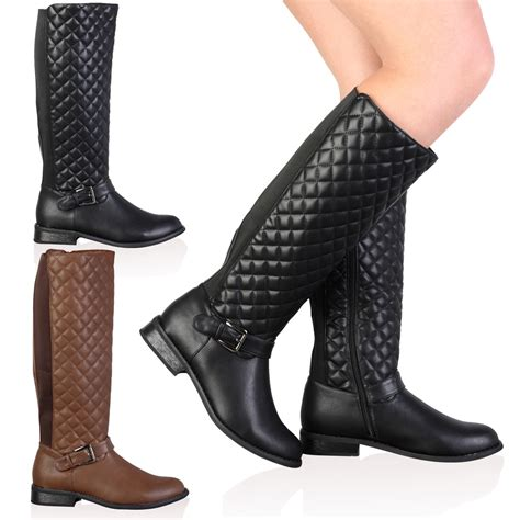 Quilted Boots by New Faux Leather Womens Quilted Knee High Flat