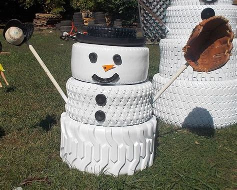 snowman home decor the snowman family made from tires hometalk
