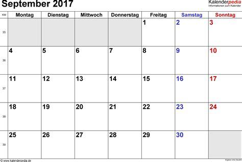 Calendar 2017 August September October Kalender September 2017 Als Pdf Vorlagen