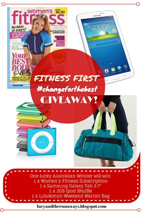 Australian Giveaways - lucy and the runaways fitness first changeforthebest giveaway