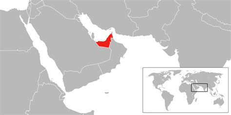 uae on world map location of the united arab emirates in the world map