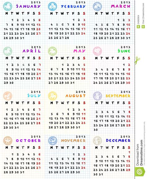Calendrier Zodiaque 2013 Calendar With Zodiac Signs Stock Images Image 24060904