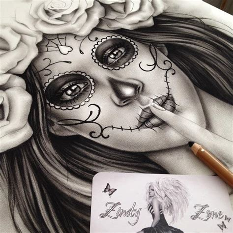 day of the dead shh zindy ink tattoo artist illustrator