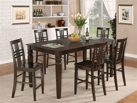 7pc rectangular counter height dining room table set 6