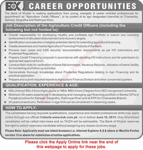 Mba Agribusiness In Banks by Agriculture Credit Officer In Bank Of Khyber 2015