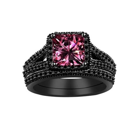 lovely photos of black wedding rings with pink diamonds