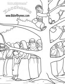 zacchaeus coloring page zacchaeus climbs a sycamore tree biblerhymes