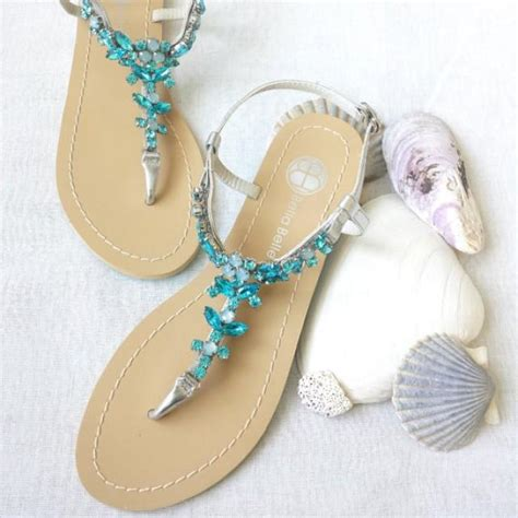silver rhinestone sandals wedding something blue ombre wedding sandals shoes for