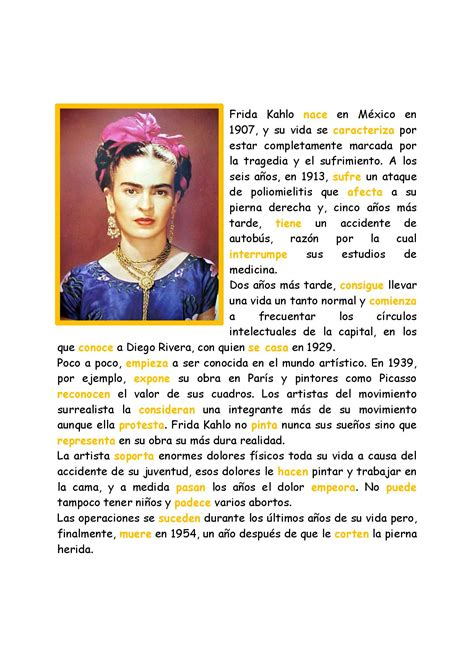 a biography in spanish preterite tense with frida kahlo spanish learning