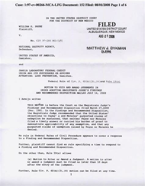 Court File Search U S District Court For The District Of New Mexico William H Payne Arthur R