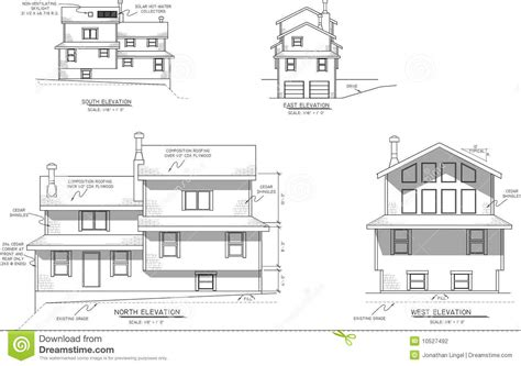 house plans with a view house plans elevation view stock illustration image of