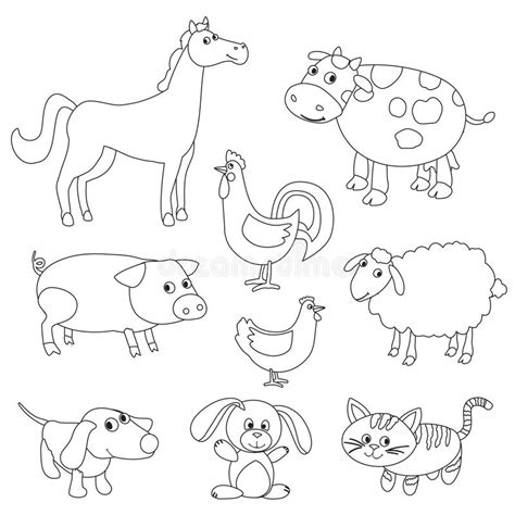 Cute Cartoon Farm Animals And Birds For Coloring Book Stock Vector Illustration Of Domestic Animal Outlines For Colouring