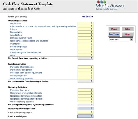 excel format of cash flow statement cash flow statement excel template