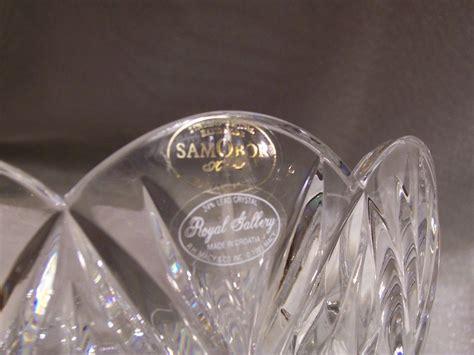 with bowl on top samobor handmade 24 lead crystal scalloped edge bowl