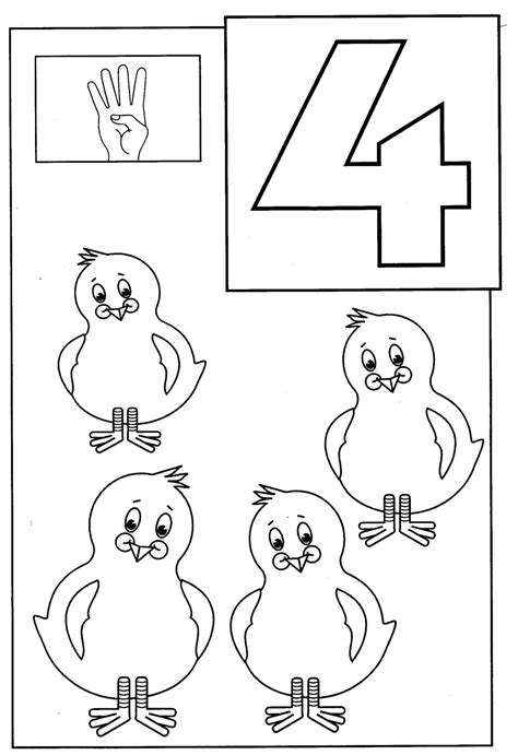 Number 4 Coloring Page Printable by Number 4 Coloring Pages Printable Coloring Pages