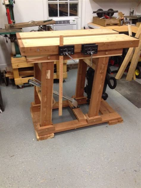 woodworking bench height adjustable height split top workbench by mattnc
