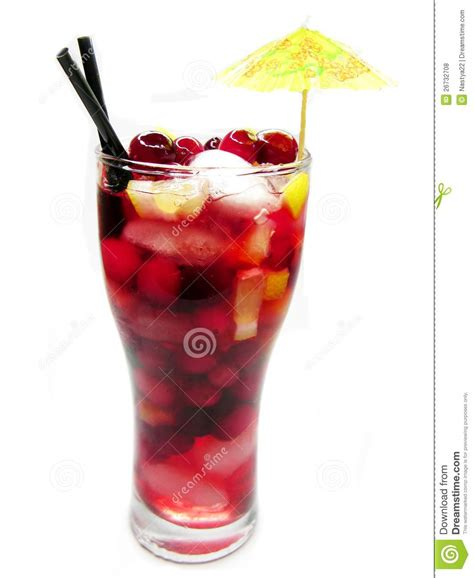 fruit red punch cocktail drink with strawberry royalty