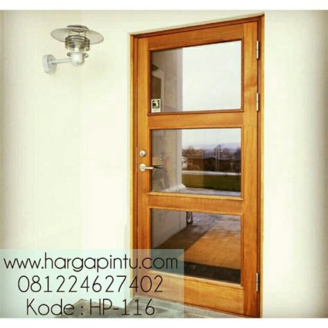 Pintu Jati Solid Kombinasi Kaca pintu kayu jati panel kaca minimalis sederhana murah harga pintu