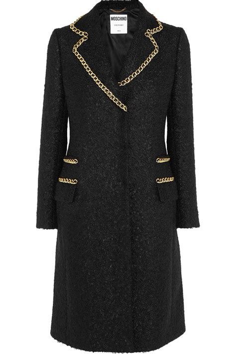 Moschino Coat moschino chain trimmed wool blend boucl 233 coat in black lyst