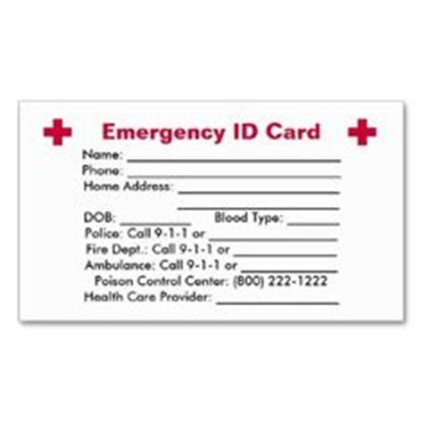 emergency contact business card template personalised information cards kid