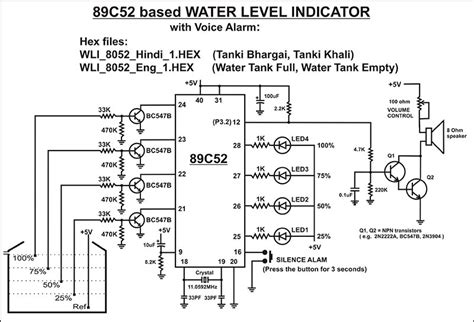 water level indicator project with circuit diagram 89c52 based water level indicator with voice alarm diy