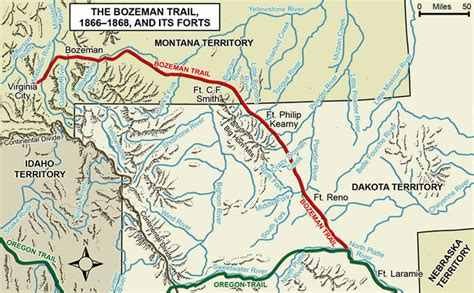 bozeman trail map connor s powder river expedition of 1865 wyohistory org