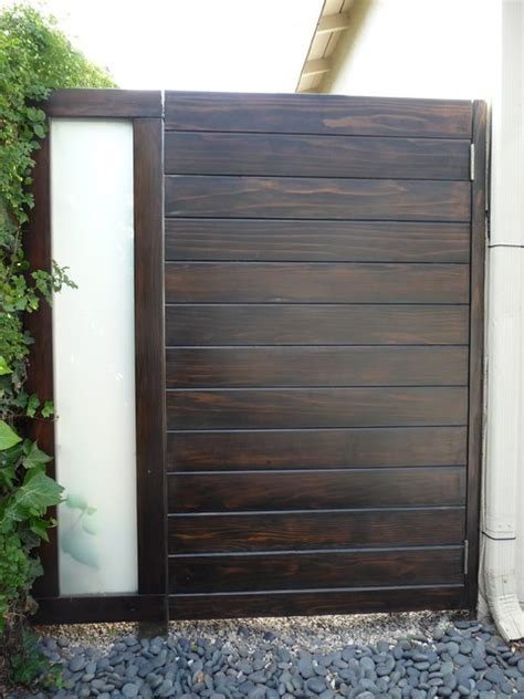 wood and frosted glass side gate brentwood contemporary