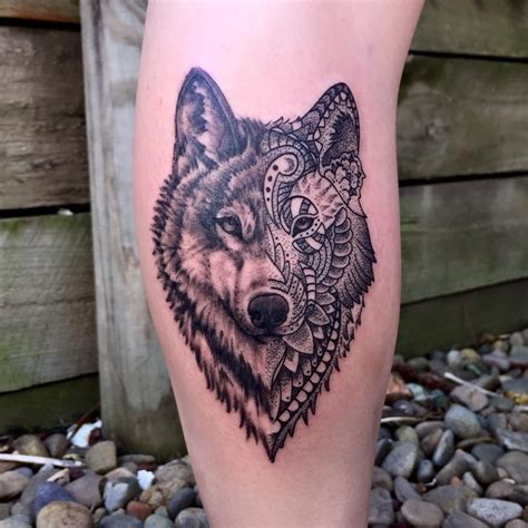 wolf mandala joe kintz tattooing