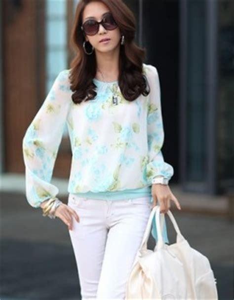 Murah Kaki Wanita Fashion Tatoo Bunga Murah blouse wanita motif bunga lengan panjang jual model terbaru murah
