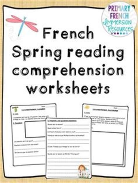 reading comprehension test in french french reading comprehension worksheets spring french