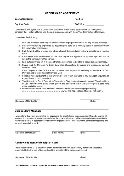 corporate credit card agreement template 11 best images of credit card payment agreement form
